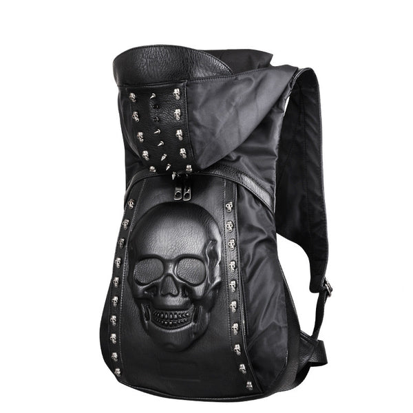 Skull Stud Hooded Backpack - Rebel Goth Fashion, Jewelry, Accessories