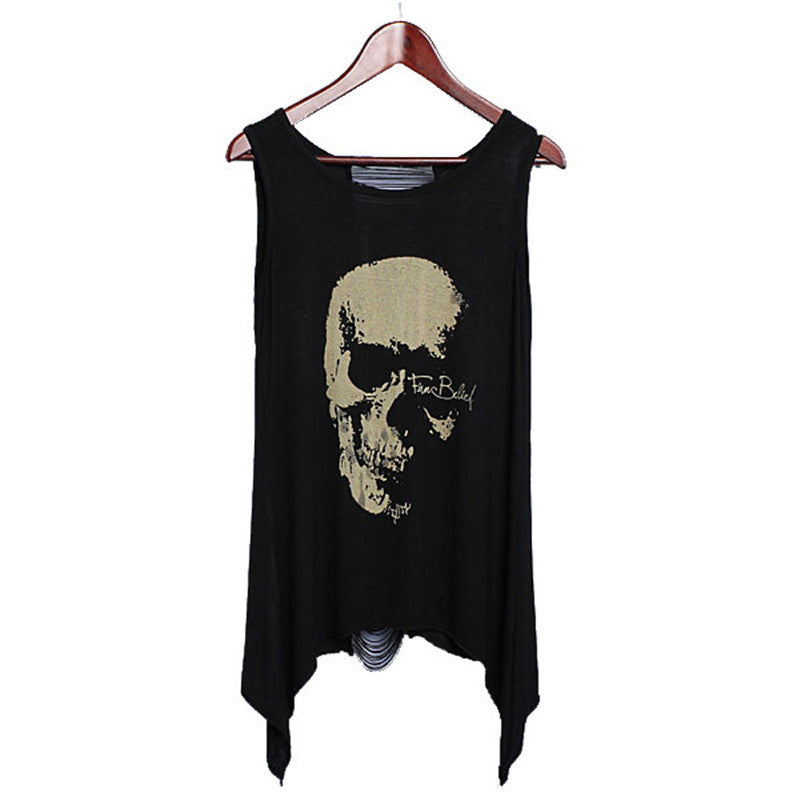 Sexy Skull Tassel Back Blouse - Rebel Goth Fashion, Jewelry, Accessories
