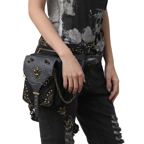 Golden Spike Waist Bag - Rebel Goth Fashion, Jewelry, Accessories