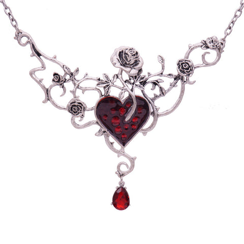 Heart and Roses Victorian Pendant Necklace