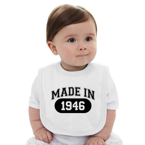 70th Birthday Gift Made 1946 Baby Bib