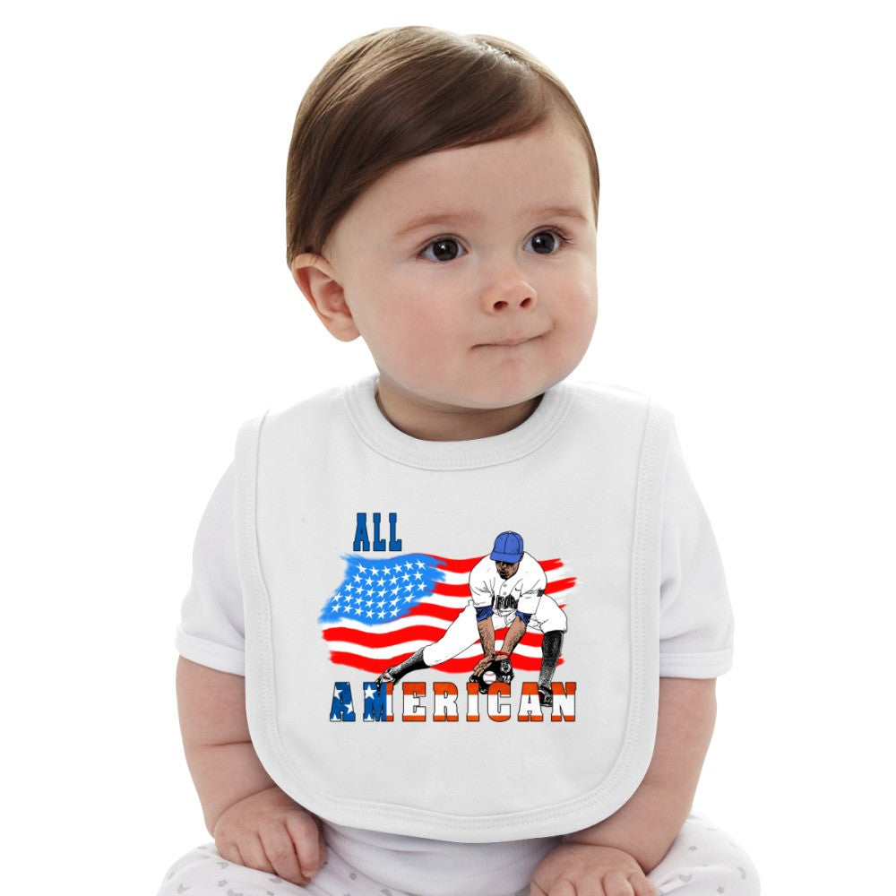 All American BaseBall Player Catcher Baby Bib