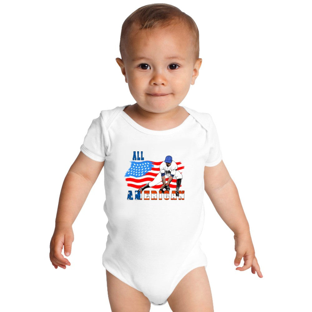All American BaseBall Player Catcher Baby Onesies