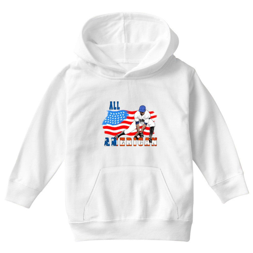All American BaseBall Player Catcher Kids Hoodie