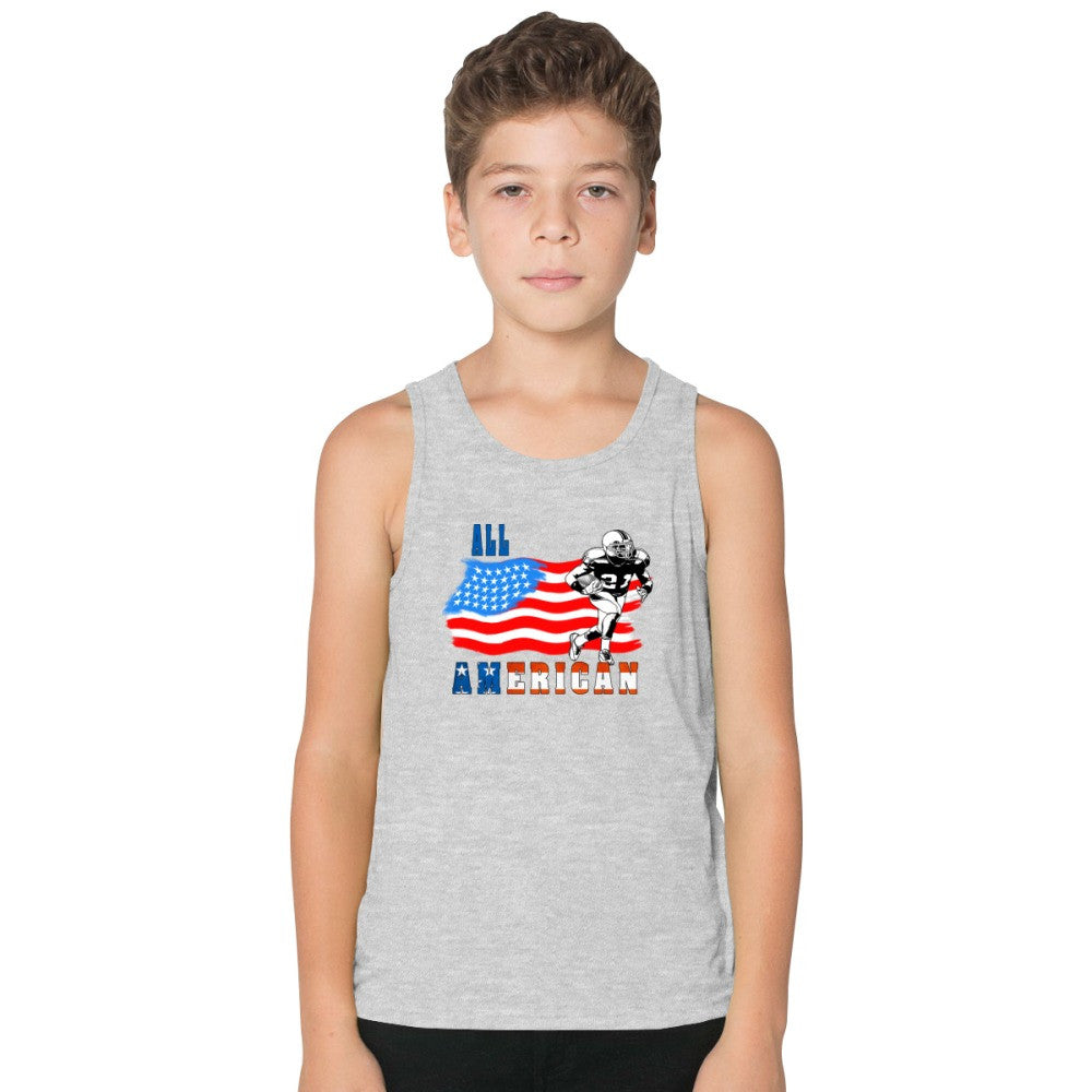 All American Football Player 3 Blue Kids Tank Top