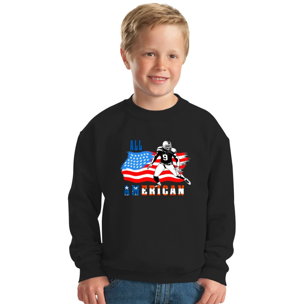All American Football Player 4 Blue Kids Sweatshirt