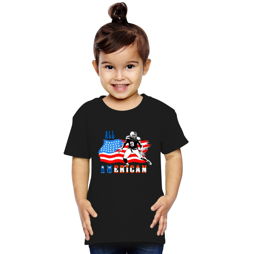 All American Football Player 4 Blue Toddler T-shirt