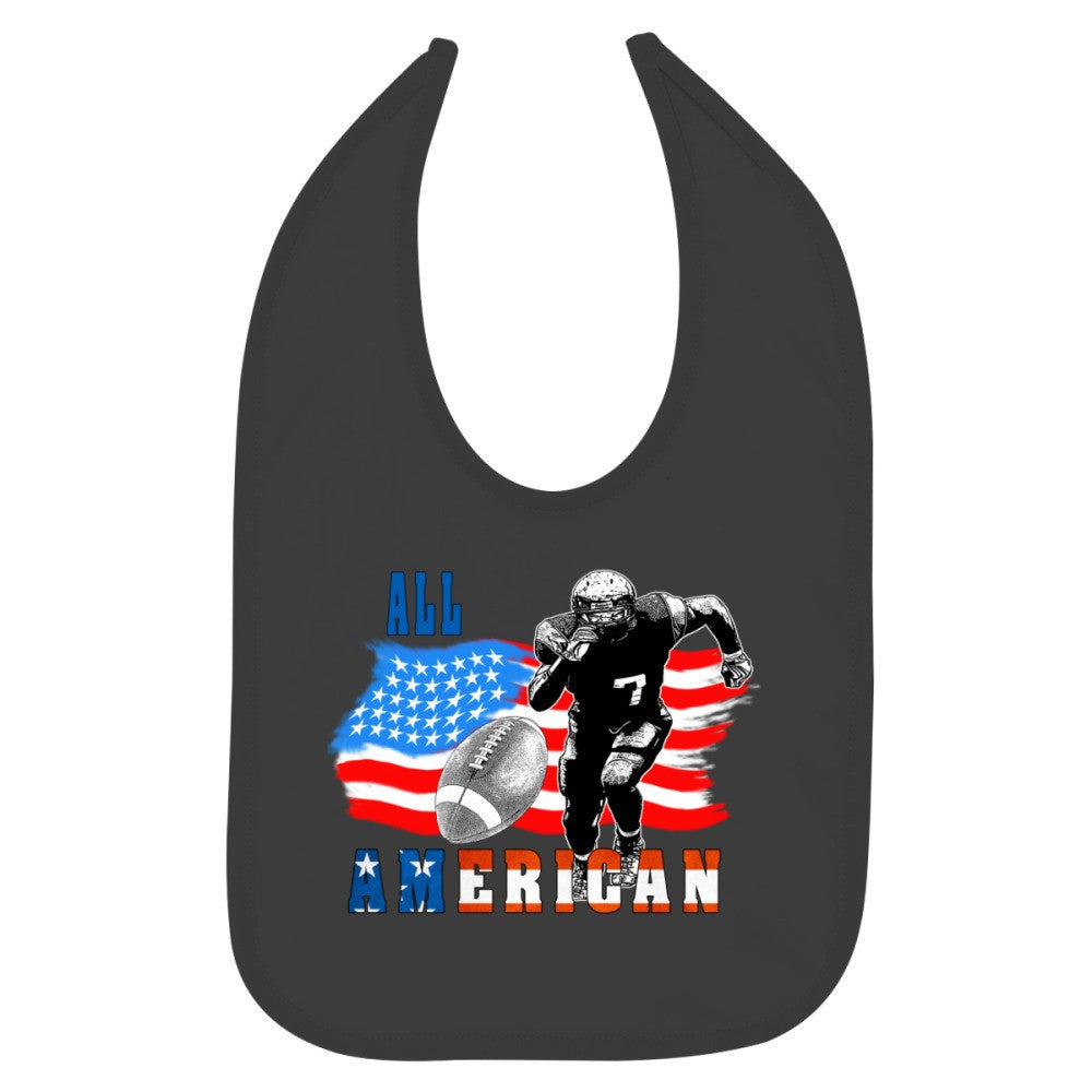 All American Football Player 5 With Ball Baby Bib