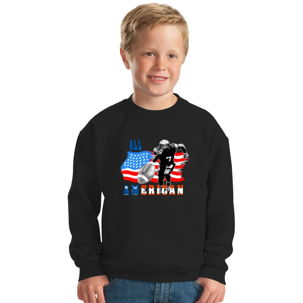 All American Football Player 5 With Ball Kids Sweatshirt
