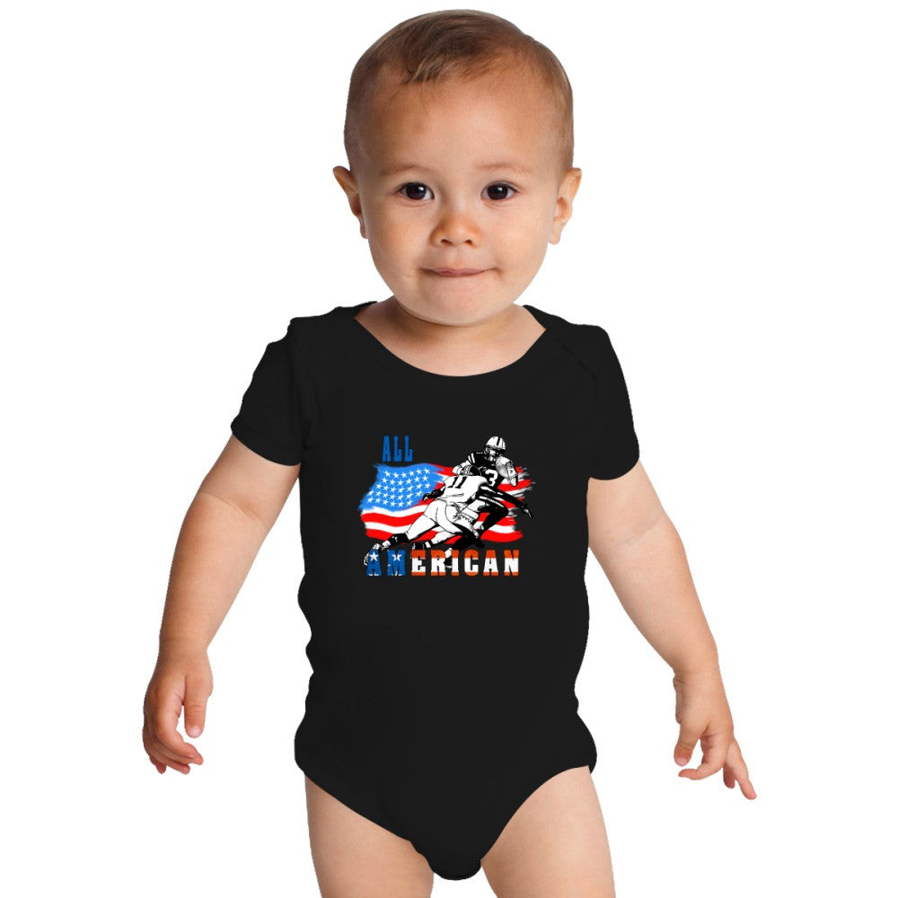 All American Football Player 6 Baby Onesies