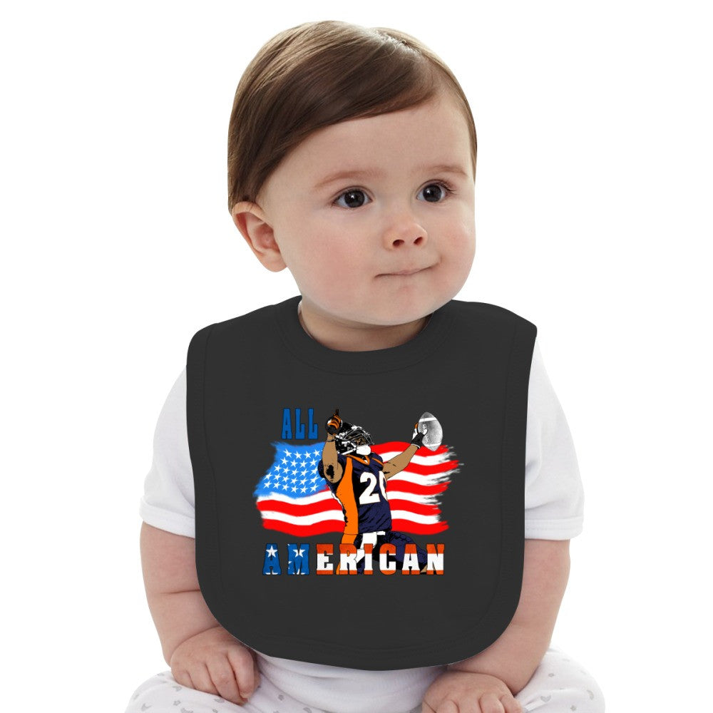 All American Football Touch Down Player Blue T Baby Bib