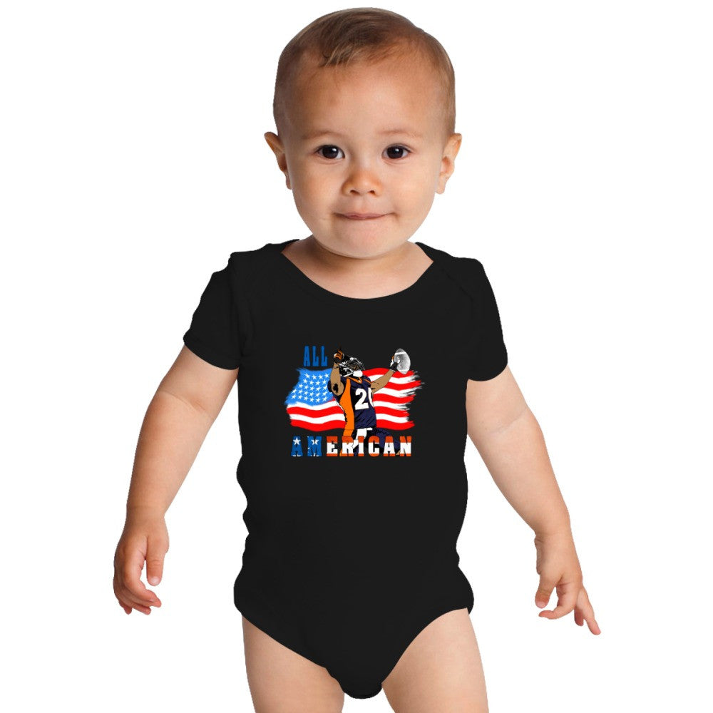 All American Football Touch Down Player Blue T Baby Onesies