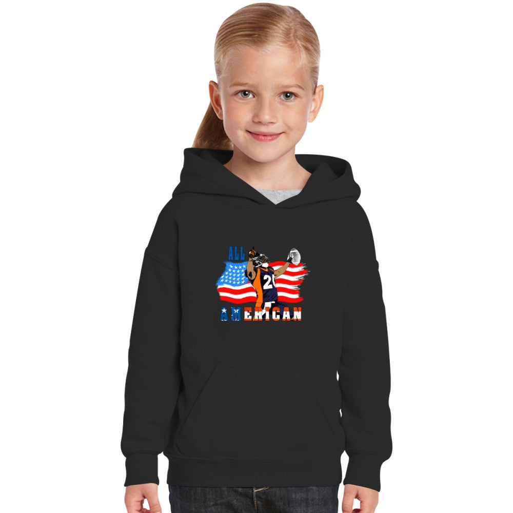 All American Football Touch Down Player Blue T Kids Hoodie