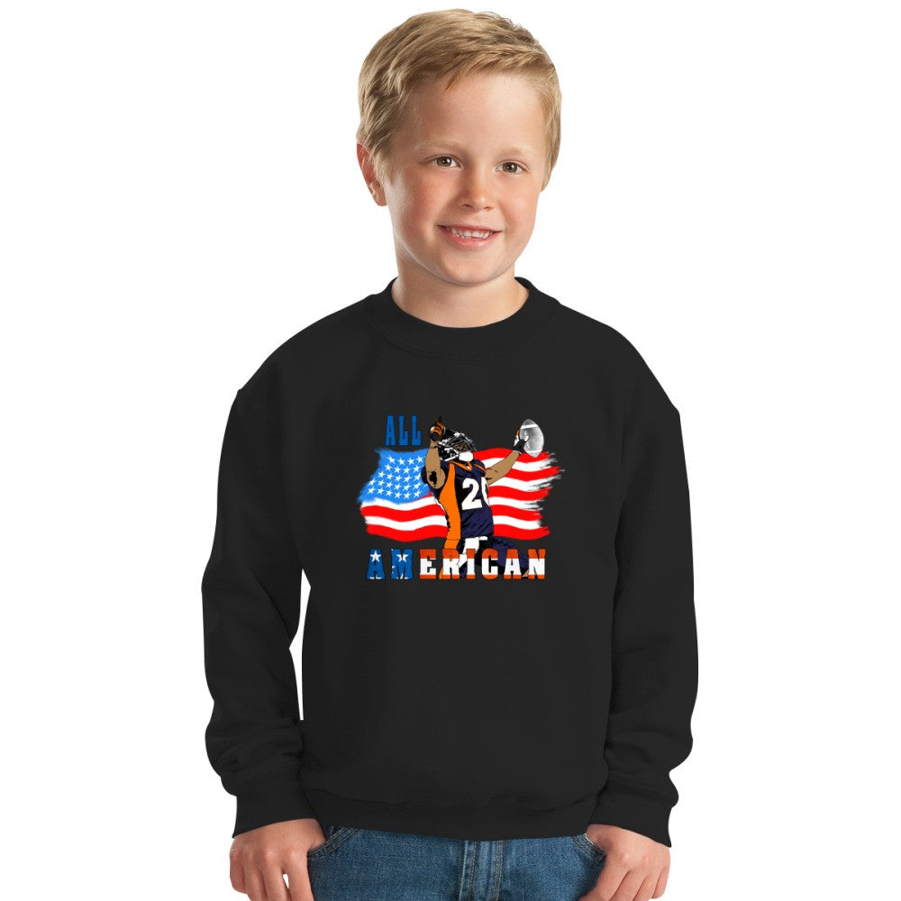 All American Football Touch Down Player Blue T Kids Sweatshirt