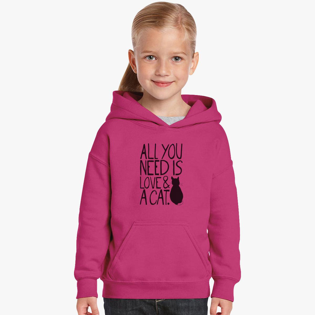 All You Need Is Love And A Cat Kids Hoodie
