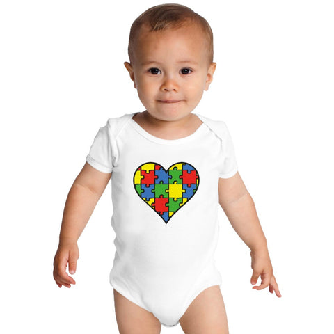 Autism Awareness Heart  Baby Onesies