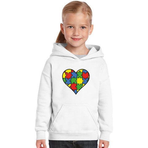Autism Awareness Heart  Kids Hoodie