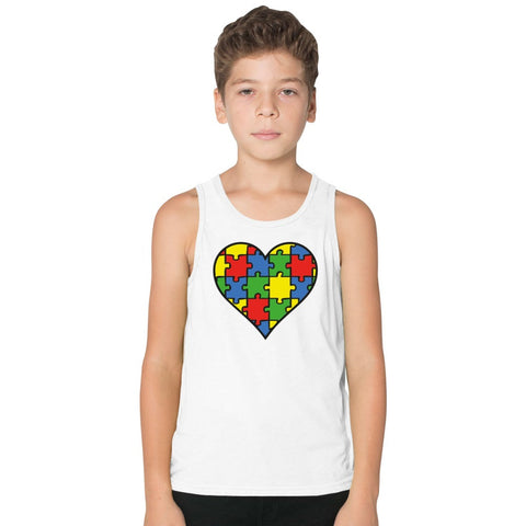 Autism Awareness Heart  Kids Tank Top