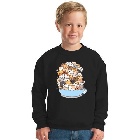Cats On A Cup Kids Sweatshirt