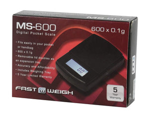 Fast Weigh MS-600 Digital Scale, 600g x 0.1g- Black
