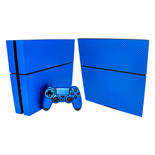 Load image into Gallery viewer, SONY PS4 CONSOLE SKIN - Blue Carbon Fiber