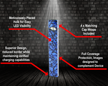 Load image into Gallery viewer, Vape Central Group Wraps for JUUL - Blue Skulls