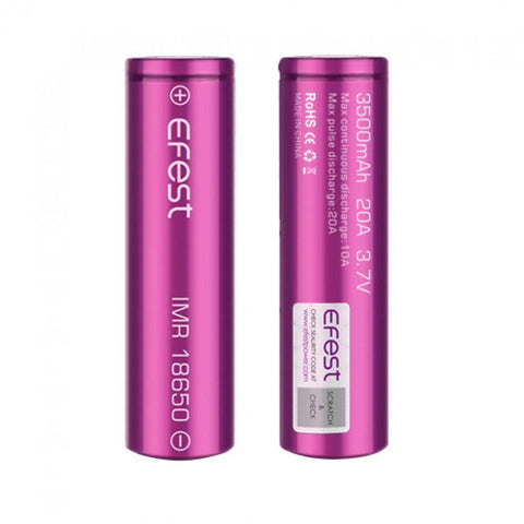 Efest 18650 3500mAh 20a Flat Top Batteries 2PCS (Two Pack)