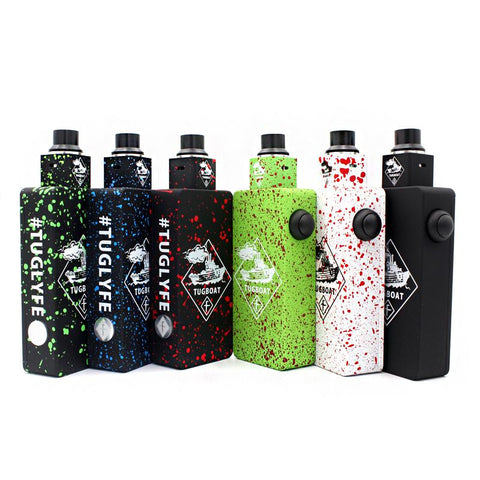 TUGBOAT DUAL 18650 MECHANICAL BOX MOD 1:1 CLONE WITH RDA VELOCITY STYLE DECK KIT