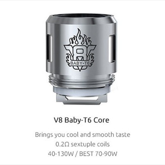 SMOK V8 Baby - T6 Sextuple Core Replacement Coils - 5 Pack