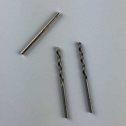 Magnets & Drill Bit Set (3mm Diameter X 2mm thickness N35 disc magnets)