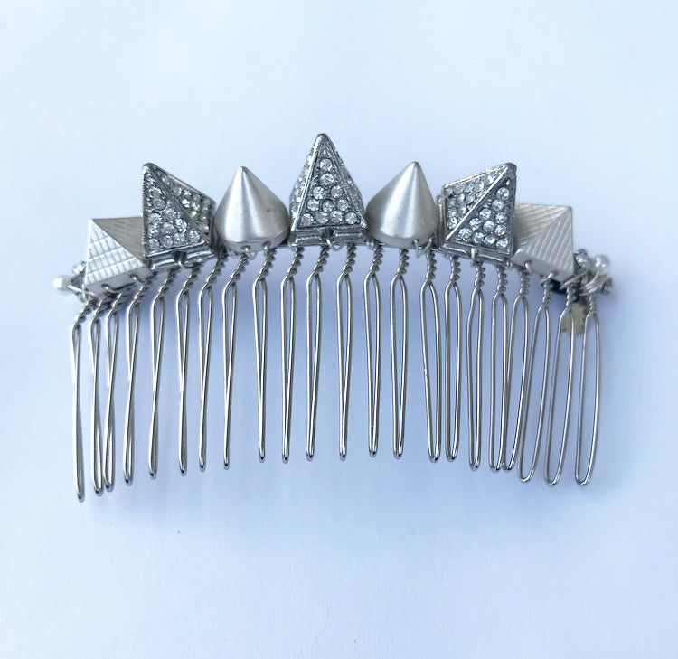 Silver Crystal Spike Pyramid Comb