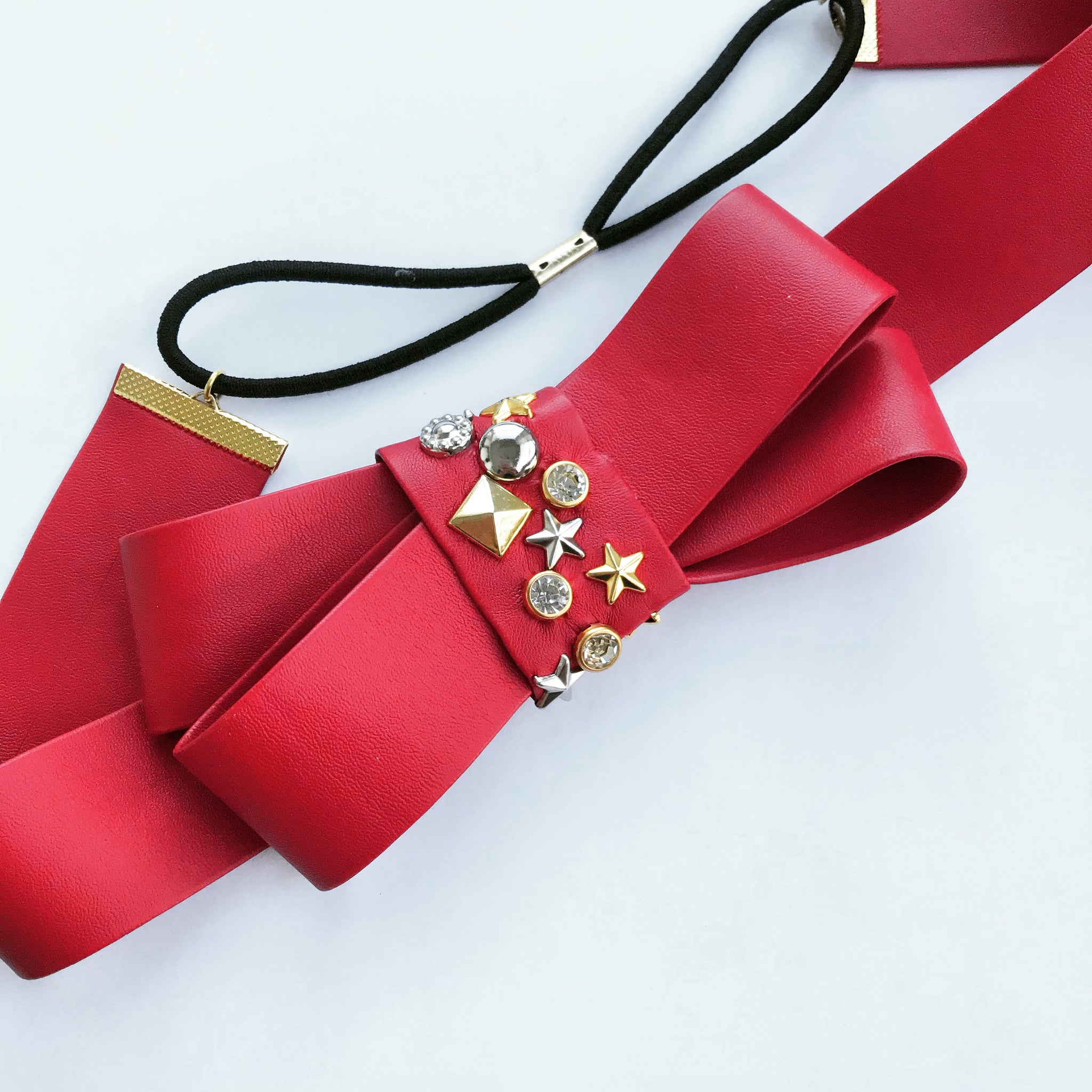 Faux Leather Studded Bow Headwrap