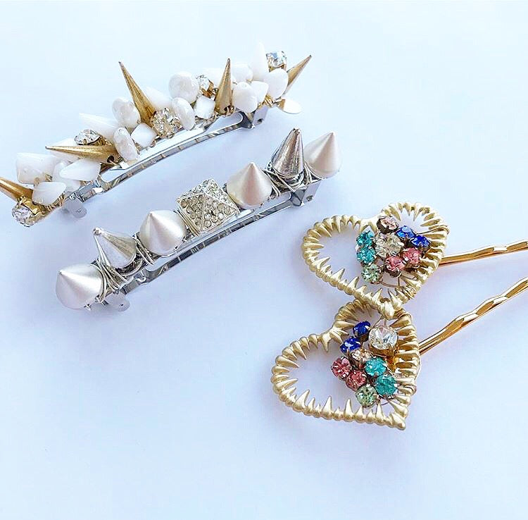 Glass Spike Crystal Barrette