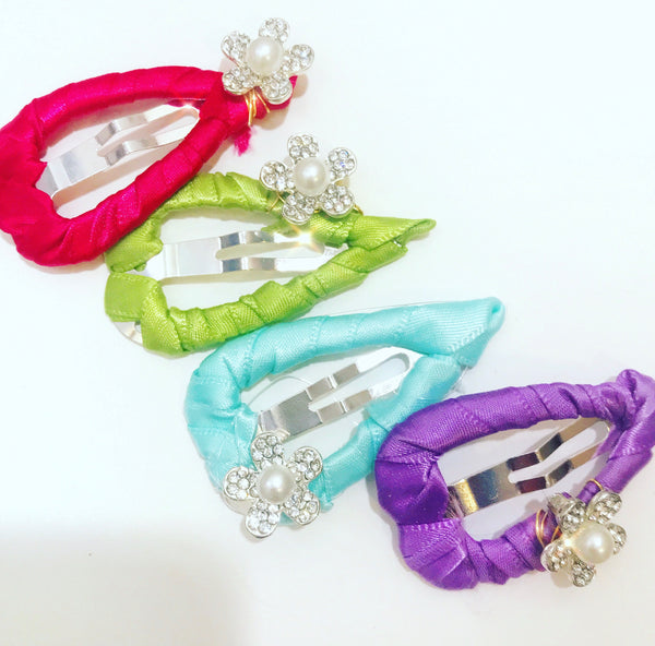 Crystal Flower Satin Snap Clip