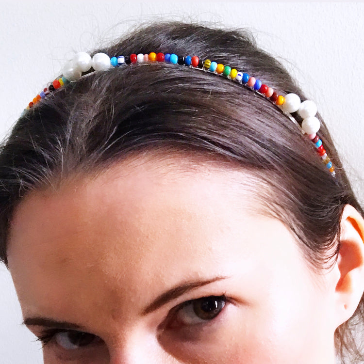 Rainbow Beaded Pearl Crown