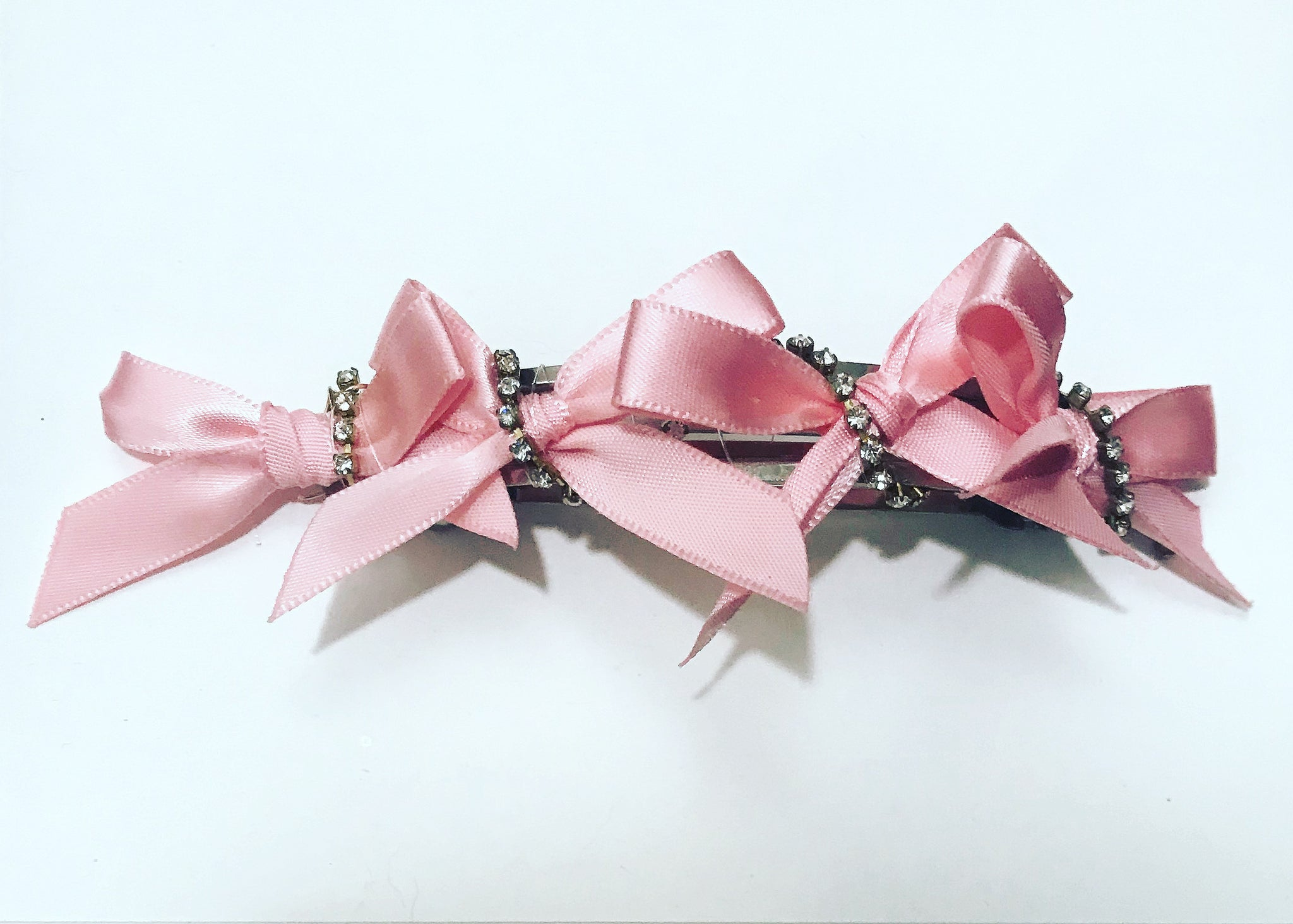 Crystal Satin Bow Barrette