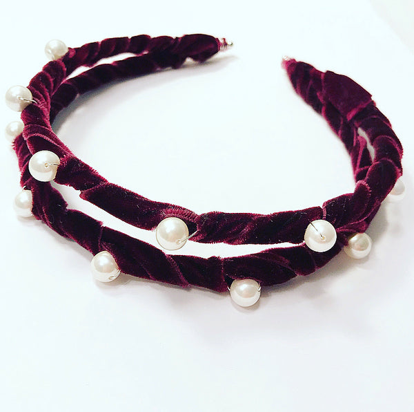 Velvet Ribbon Pearl Crown