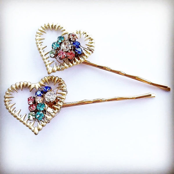 Crystal Heart Hair Pin