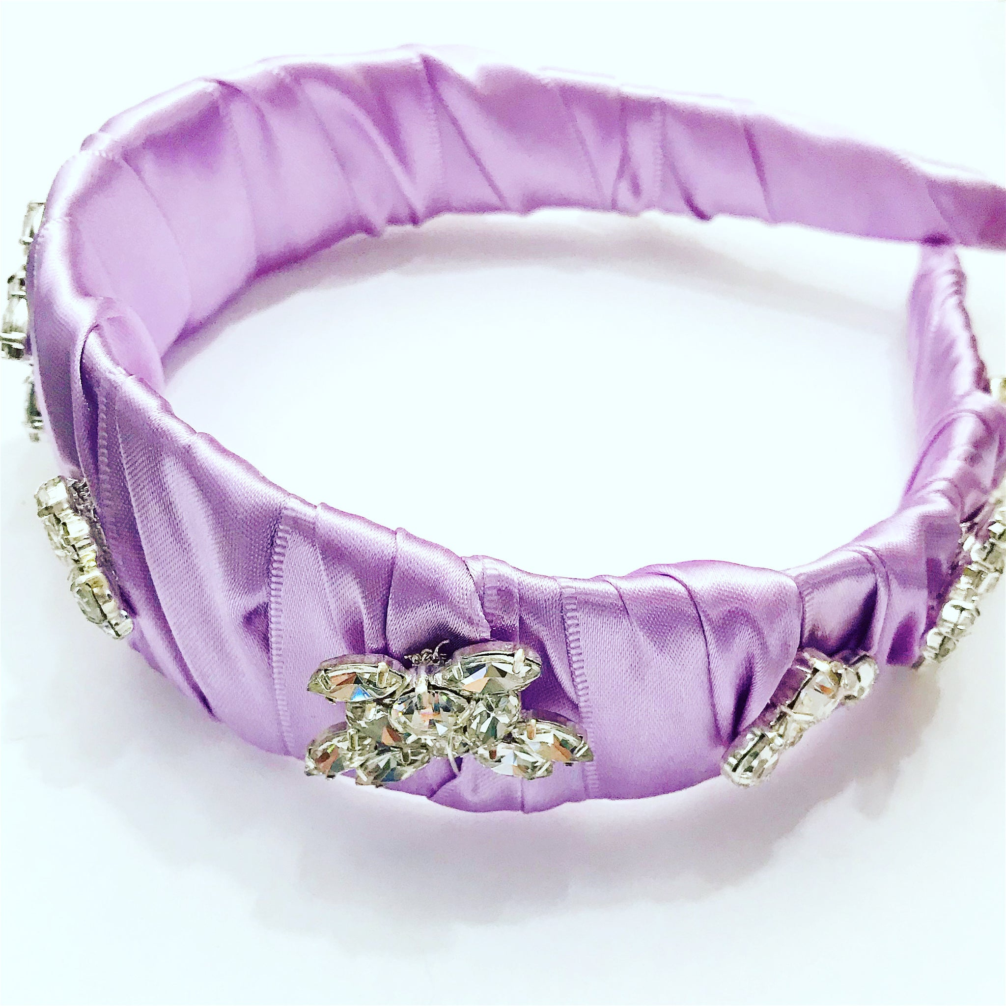 Crystal Flower Satin Headband