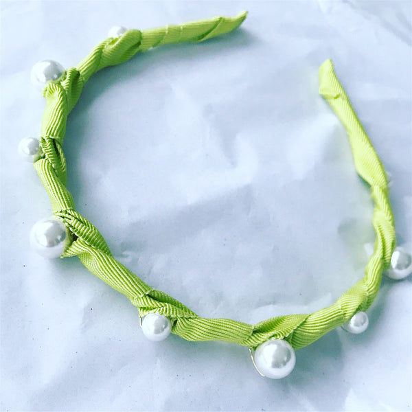 Pearl Grosgrain Crown