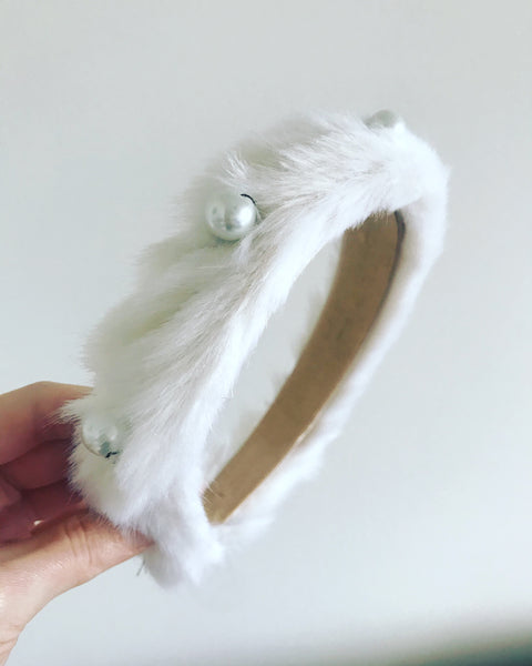 Faux Fur Pearl Headband