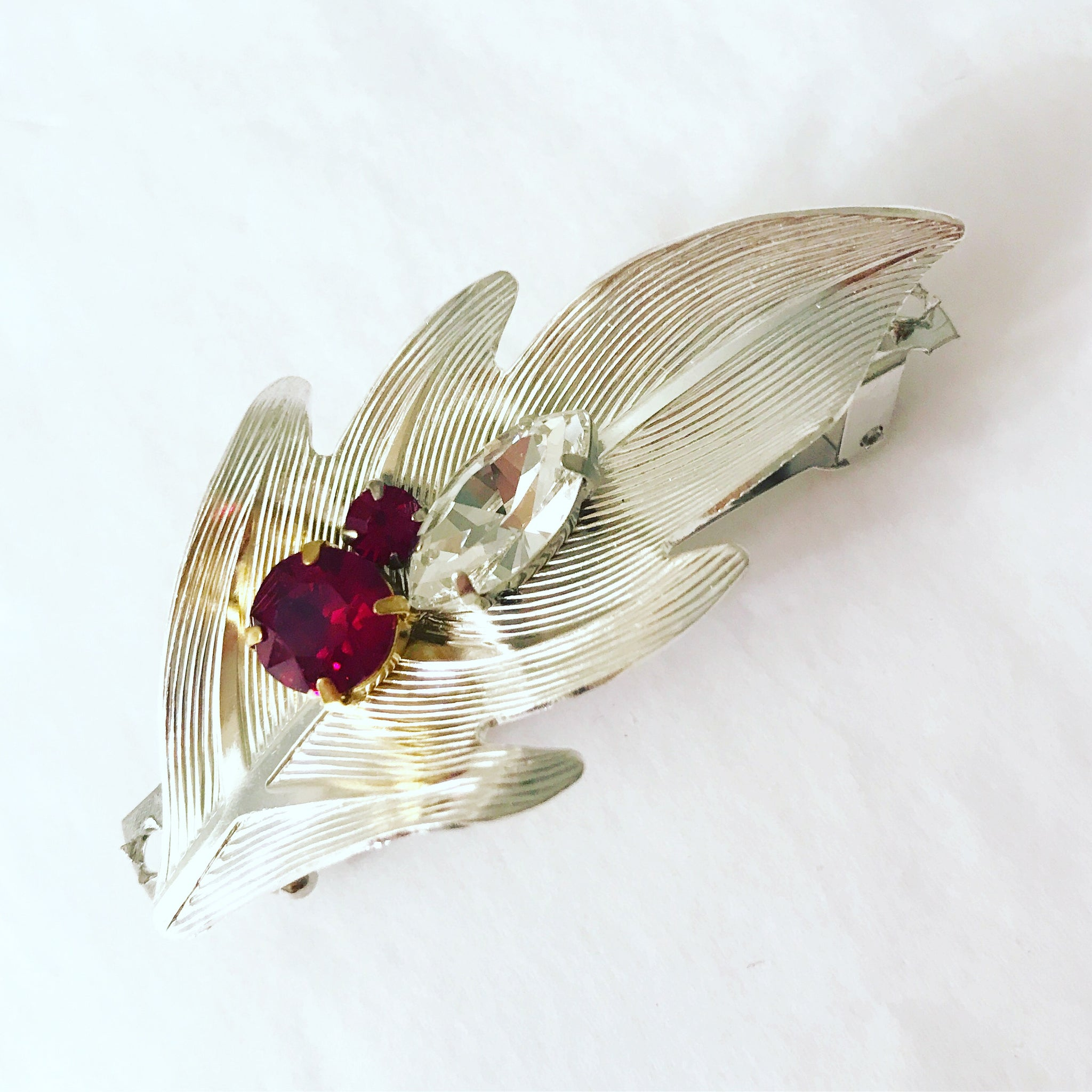 Crystal Leaf Barrette
