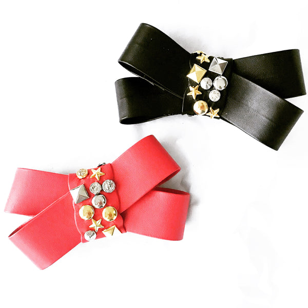 Faux Leather Studded Bow Barrette