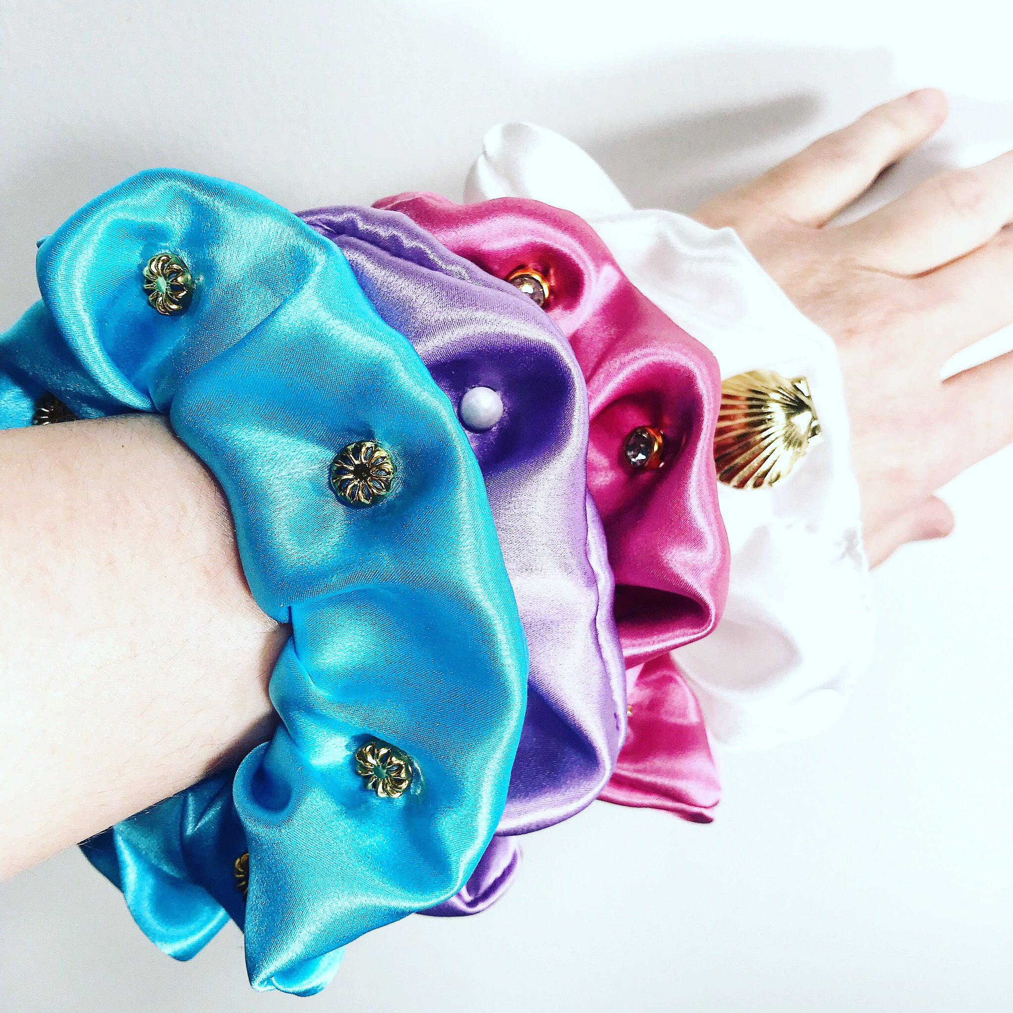 Silk Satin Studded Scrunchie