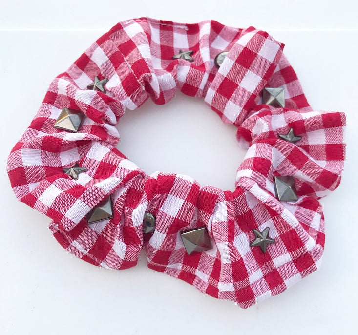 Studded Gingham Scrunchie
