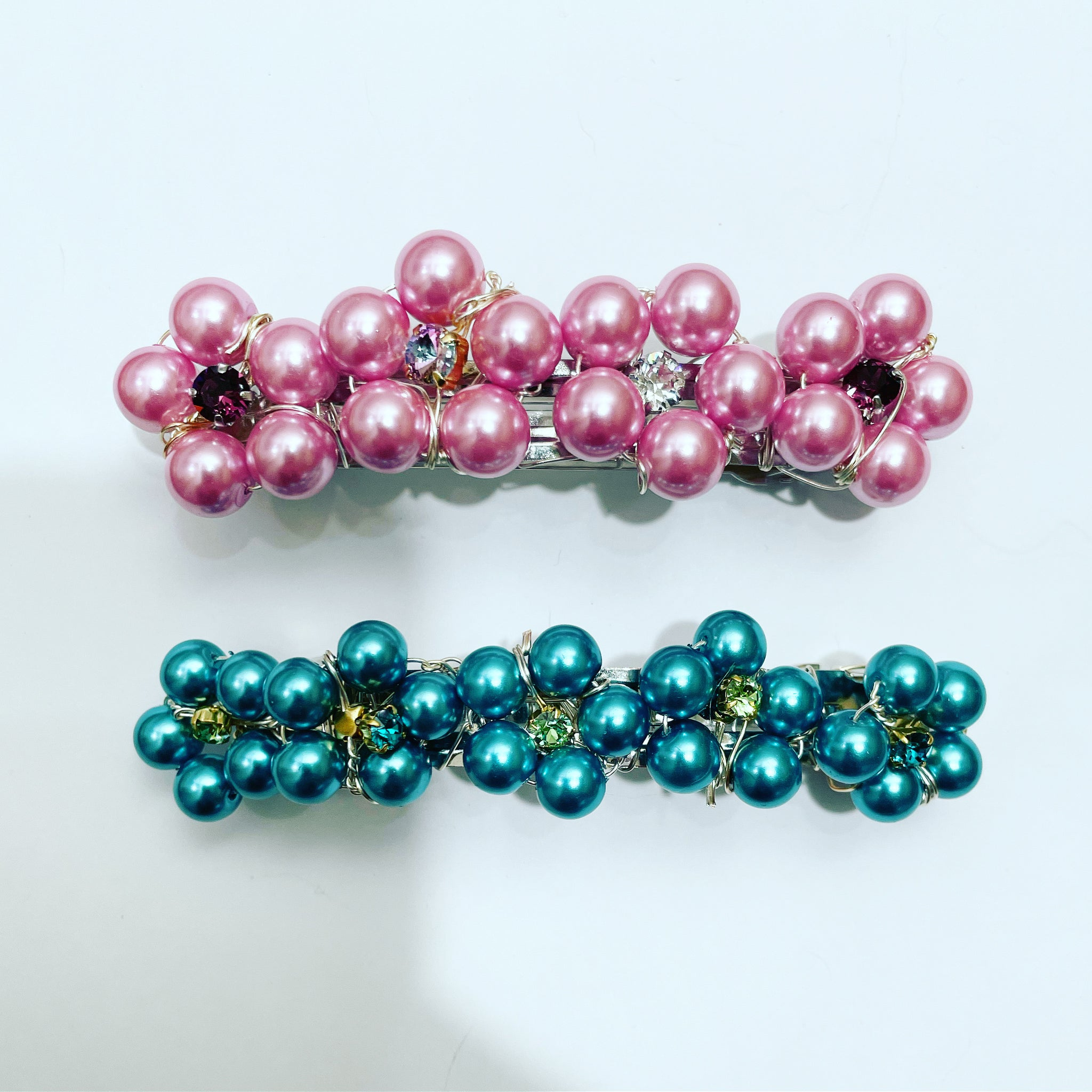 Crystal Pearl Flower Barrette