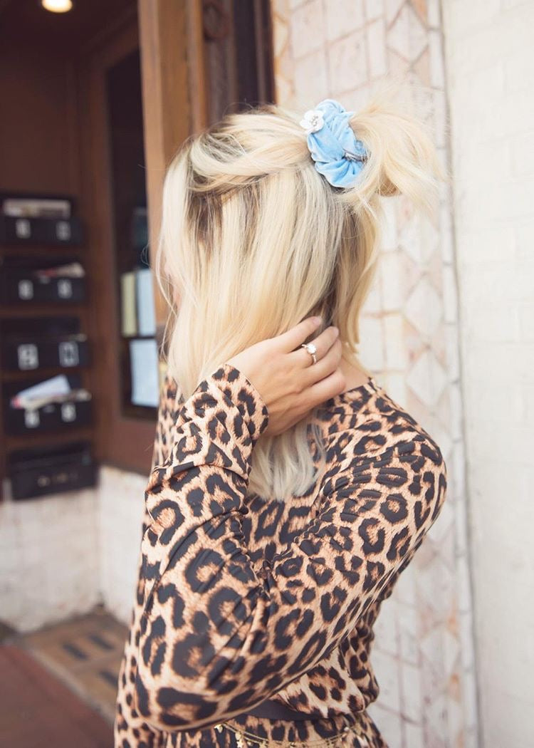 Velvet Flower Scrunchie