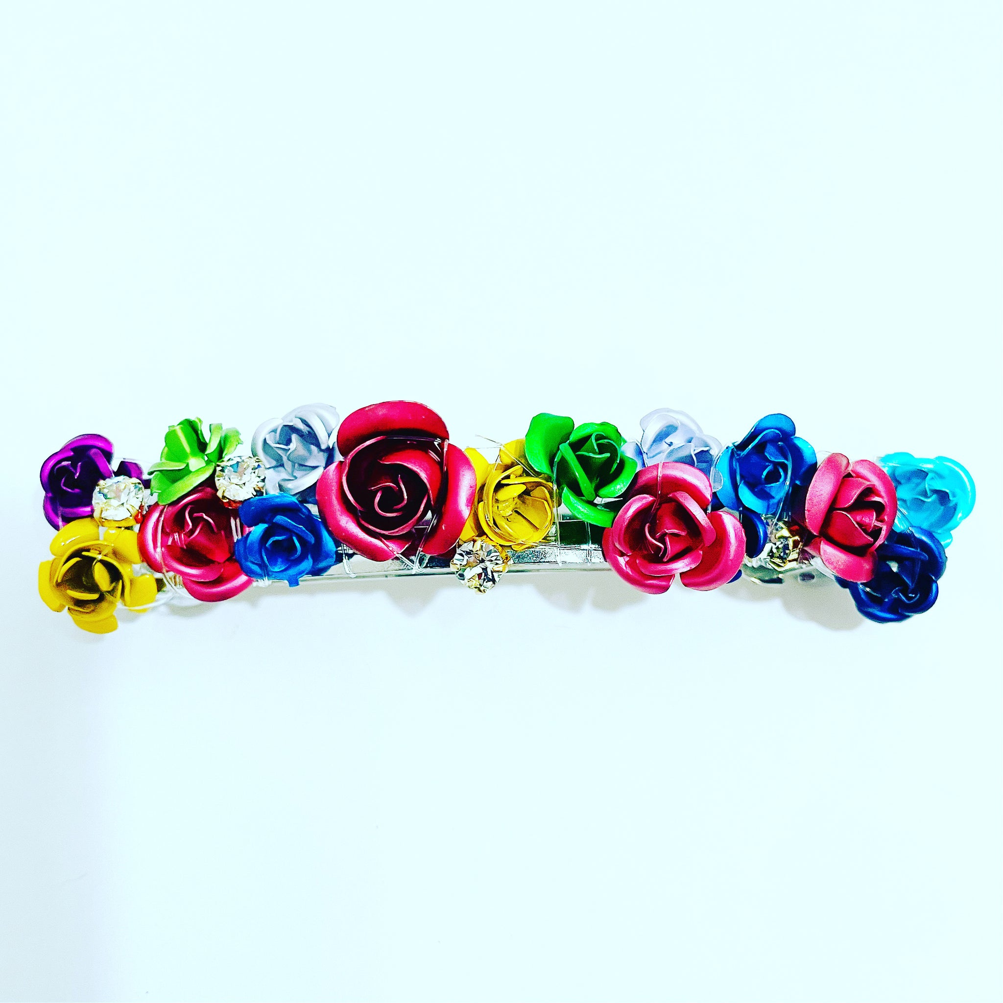 Metal Flowers Crystal Barrette