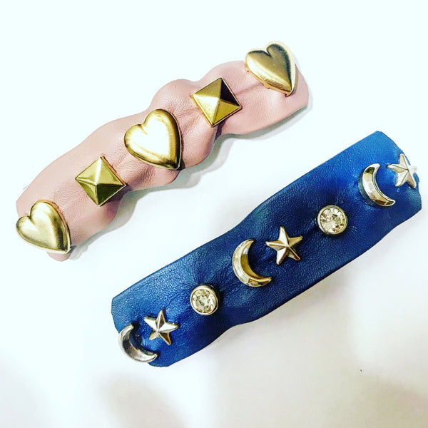 Faux Leather Studded Barrette