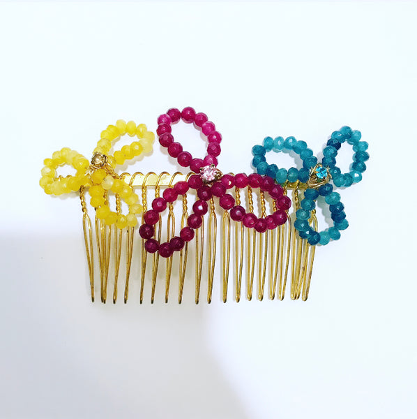 Beaded Floral Hair Comb